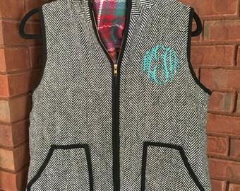 QUICK SHIP!! Herringbone Black and White Monogrammed Vest
