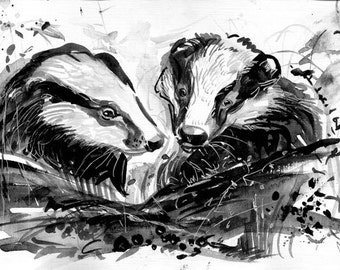 Badgers - Original animal drawing - In black and white - Custome cute animals - Original artwork - Sale - Gift