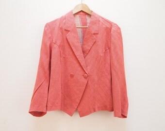 SALE 80s red polka dot silk blouse