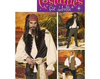 Sewing Pattern for Mens Pirate Costumes, Simplicity Pattern 4923, Halloween Costume, Cosplay Costume, Jack Sparrow, Pirates Costume