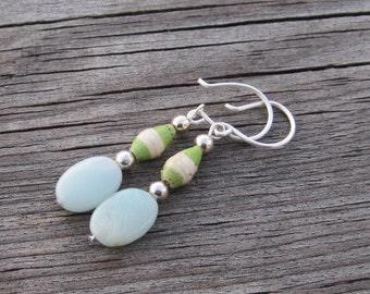 Amazonite drop dangle earrings