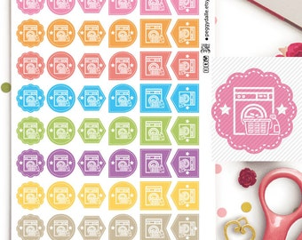 Laundry Assorted Functional Planner Stickers | Reminders | Chores | Wash | Clothes | Icons | Washing Machine | Laundry Stickers