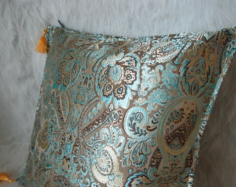 Turquoise Metallic Brown Decorative Pillowcase