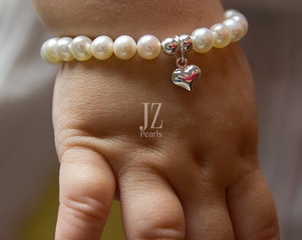 Freshwater Pearl Baby Gift Bracelet Sterling Silver Heart Charm and beads Bracelet Baby's First gift  1st Birthday Newborn Adult gift