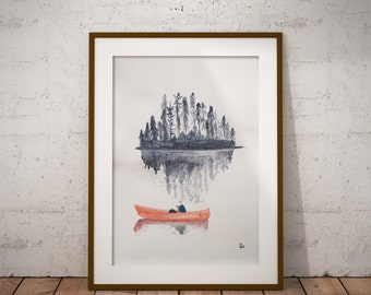 A4 Size watercolour print of couple in canoe