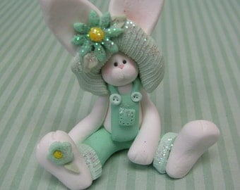 FREE SHIPPING! Polymer Clay Art Miniature Teal Easter Bunny Rabbit Sculpture
