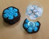 Crochet coasters, drink coasters, crochet appliqué, flower coasters, crochet african flowers, coasters