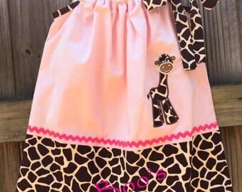 Giraffe Pillowcase Dress, Size 2 Pillowcase Dress, Toddler Pillowcase Dress, Lined Pillowcase Dress