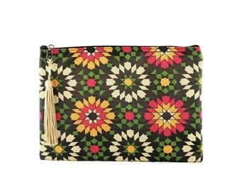 Kit Moroccan Najmayal - fabric with patterns of dark zelliges - Pompom Doré (Golden Tassel)