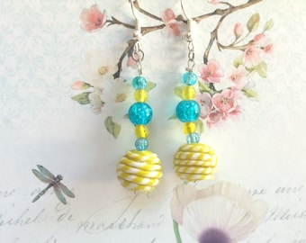 Dandelions and Blue Sky lime and blue beaded earrings