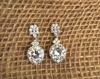 White Gold plated Earrings, CZ Earrings, Exotic Earrings, Dangle Earrings, Wedding Earrings, Bridal Earrings