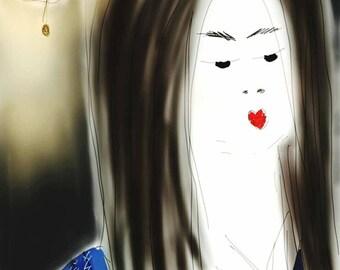 Geisha in Night Kimono - digital illustration