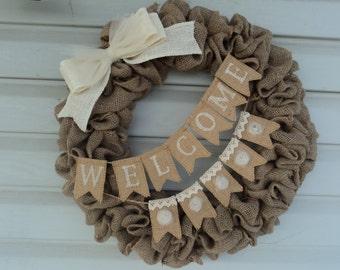 "18"" Burlap Welcome  Wreath, Welcome Wreath, Welcome Banner, Burlap Wreath, Burlap Door Wreath"