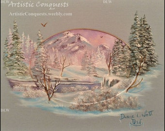 "ORIGINAL Oil Painting - ""Guarded by the Precipice"", Framed 8x10"" Miniature Winter, Snowy Mountain and Forest, River Landscape Art"