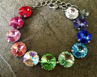 RAINBOW 12mm Swarovski crystal bracelet - select your finish - crystal rivolis