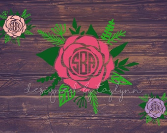 Rose Decal, Monogram Decal, Decals, Yeti Decal, Car Decal, Decals, Personalized Gifts, Bridesmaid Gifts, Mothers Day Gifts, Flower Decal