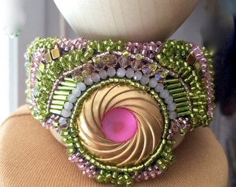 Pink and green rigid Cuff Bracelet