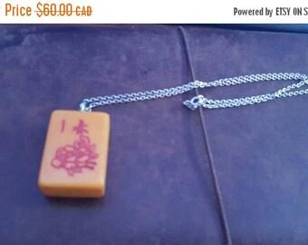 ON SALE Vintage Sterling Silver Necklace with Vintage Mahjong Tile Pendant