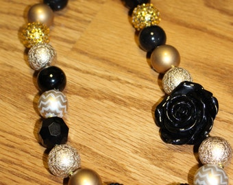 Gold and Black Chunky Beaded Necklace with Rose