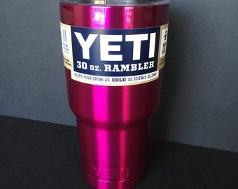 Candy raspberry powder coated 30oz Yeti rambler.
