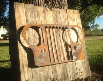 Jeep Sign, Metal Wall Art, Rustic, Man Cave, Barnwood