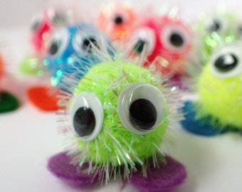 30 Glittery Neon Warm Fuzzies / Bright Sparkle Pom Pom Critters - 1 inch