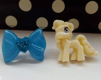 My Little Pony Blue Sparkle Bow Stud Earrings