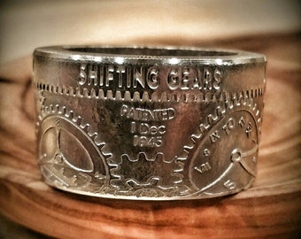 Silver Shifting Gears of Time Ring - Hand Forged Silver T.I.M.E. Coin Ring (Polished) - Silver Coin Ring - Steampunk Ring - Silver Ring