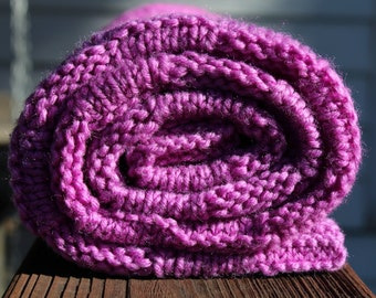Purple Hand Knitted Baby Quilt