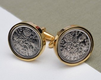 1942 gold lucky Sixpence Coin Cufflinks - 75th birthday gift