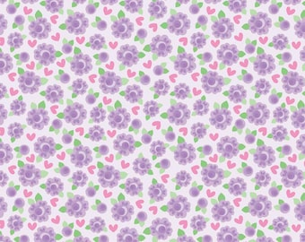 Riley Blake Designs Lovey Dovey Collection Purple Flowers by Doodlebug Designs C 3654