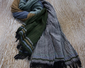 Green Brown Grey Cotton Scarf, Cotton Scarf, Handmade Scarf