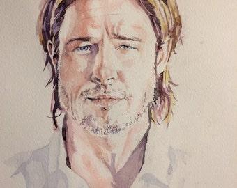 Brad Pitt watercolour portrait