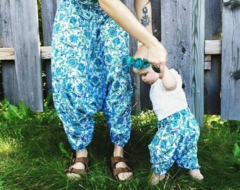 6-9 Months, Block printed cotton baby harem pants, hippie baby, bohemian baby shower gift  boho baby pant, floral aztec baby, gypsy pant,