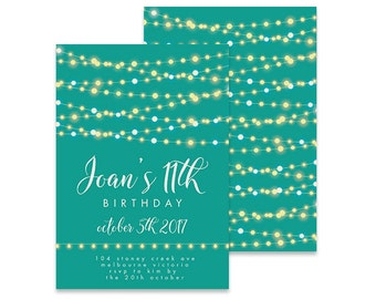 Printable 11th Birthday Invitation | Garland Pretty Lights | Printable DIY Invite, Affordable Invitation, Digital Invite, Girl's Invite 11th