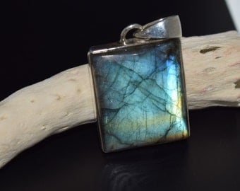Sterling Silver Labradorite Pendant with Chain Included