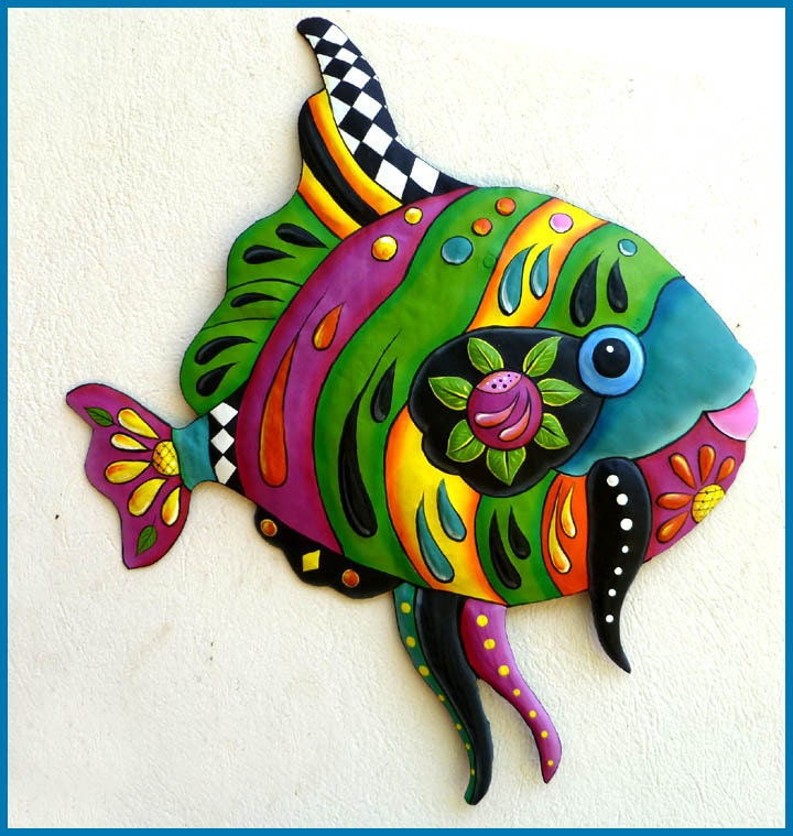 Tropical fish metal art metal wall hanging hand painted for Tropical metal wall art