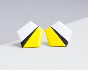 Paper studs - minimalism Origami - yellow