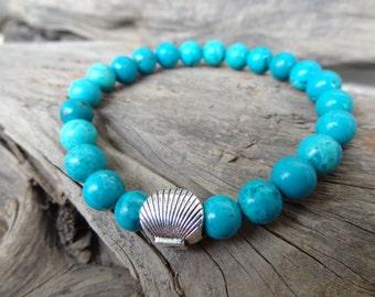 EXPRESS SHIPPING,Turquoise Gemstone Bracelet, Unisex Bracelet, Healing Stone Stretch Bracelet, Yoga,Meditation,Beaded Spiritual Reiki Sacral