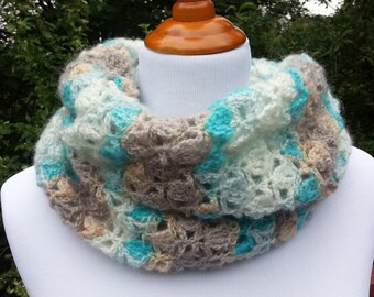 Handmade crochet scarf. Turquoise White  Beige Crochet scarf.  Hand Knit Infinity Scarf. Winter Scarf. Circle Scarf. Multicolored Scarf
