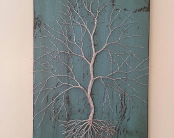 Wire Tree on Distressed Turquoise Board.  Wire Art, Wall Art, Home Decor.