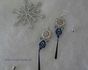 Bohemian earrings macrame and flakes