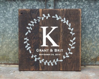 Wedding Gift Sign, Family Name Established Date Sign, Custom Wedding Gift, est date Pallet, Initial, Monogram, Personalized Wedding GIft