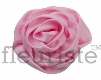 LIGHT PINK Satin Rosette, Rolled Rosette, Fabric rose, Rolled Rosette, Wholesale Flower, Fabric Flower, Wedding Flower, Flower Embellishment