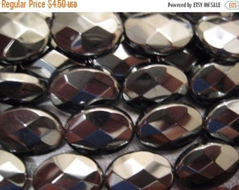 ON SALE Hematite Faceted Oval Beads 19pcs