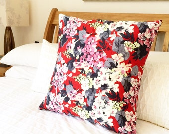 Japanese Floral Design, Cushion Cover, Red Flower Design, 18x18, Pillow Case