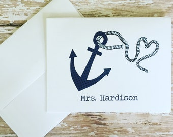 Anchor Heart Rope Personalized Notecards, Set of 10 Notecards & Envelopes, Teacher's Gift