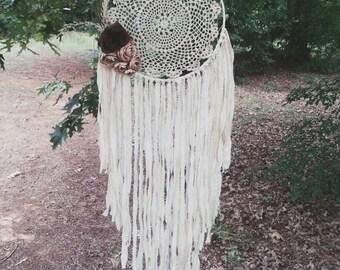Bohochic Large Doily Dream catcher - Bohemian Dreamcatcher - boho wedding decor - gypsy - hippie - shabby chic - woodland nursery