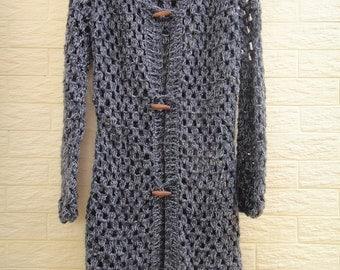 Boho Long Hooded Crochet Sweater Cardigan Button Down