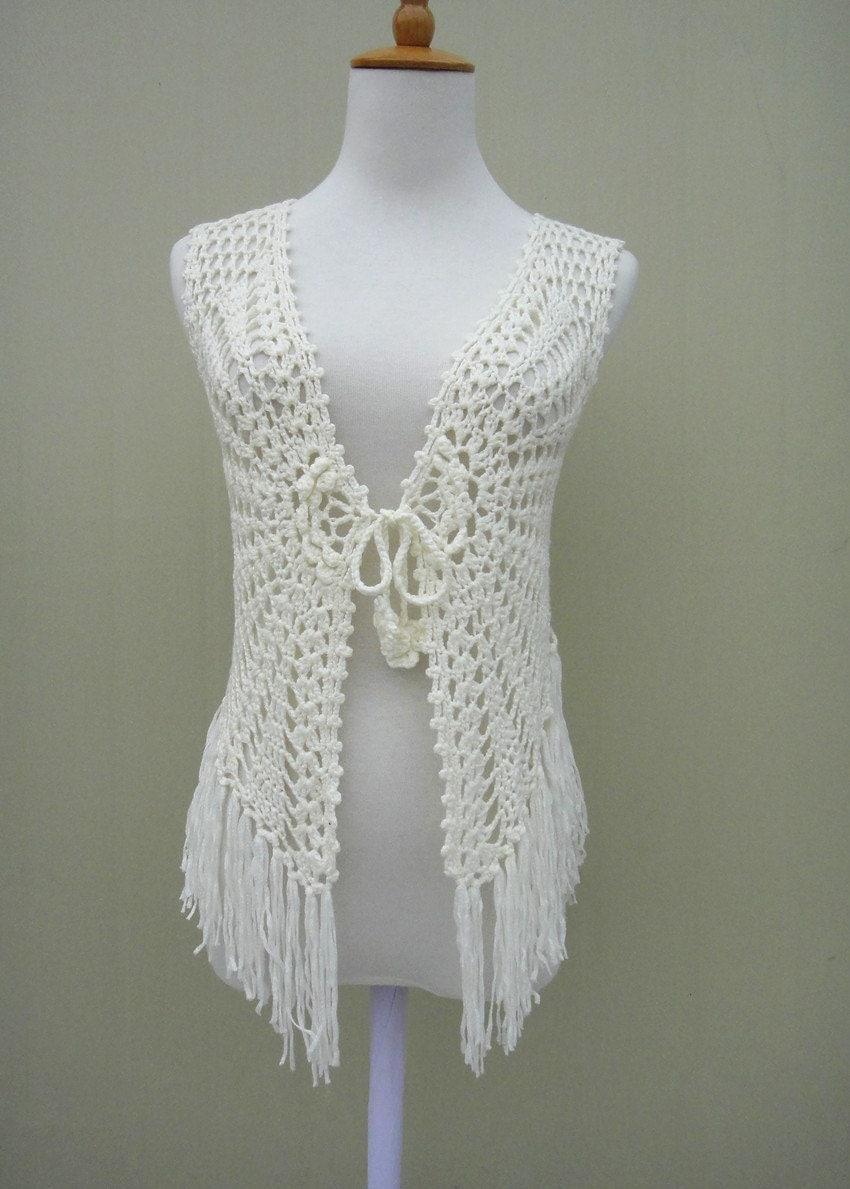 Crochet Flower Cardigan Pattern : Fringe Crochet FLoral Sleeveless Cardigan Tie Front